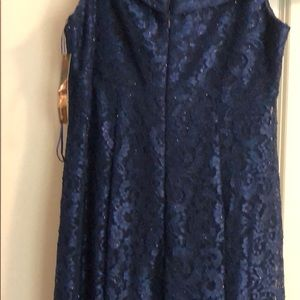 R & M Richards Dresses - Navy, sparkly floor length formal, lacey overlay.